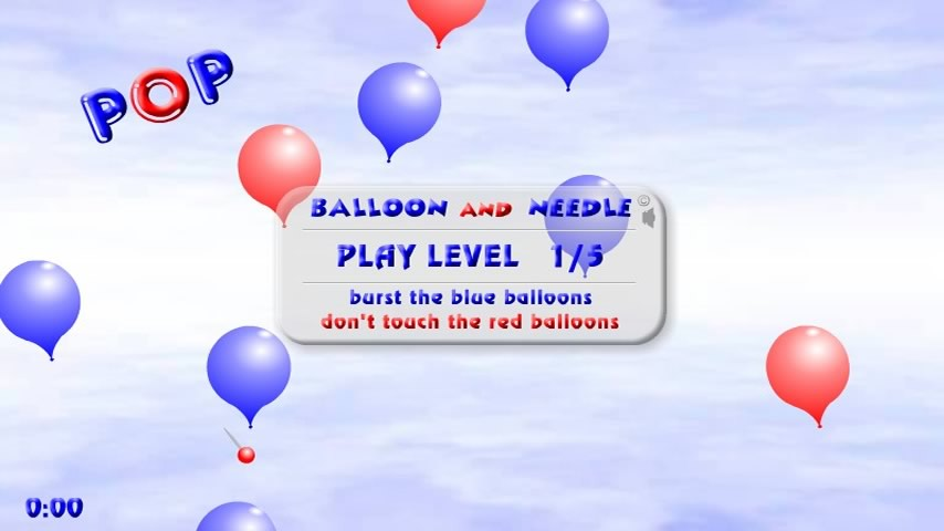 android pop Balloon and Needle screen